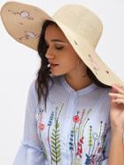 Romwe Flamingo Pattern Oversized Floppy Straw Hat