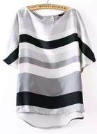 Romwe Dip Hem Striped Chiffon Grey Top