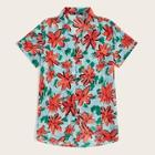 Romwe Guys Flower Print Revere Collar Shirt
