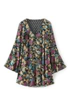 Romwe Floral Print Hollow-out Dress