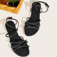 Romwe Braided Detail Ankle Strap Sandals
