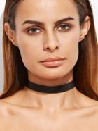 Romwe Black Faux Leather Simple Choker Necklace