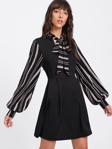 Romwe Striped Tie Neck And Bishop Sleeve Pleated Dress