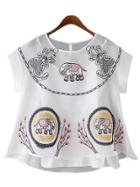 Romwe White Elephant Embroidery Organza Blouse With Strap