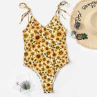 Romwe Random Self Tie Shoulder Sunflower One Piece Swimsuit