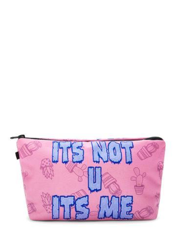 Romwe Letter Print Makeup Bag