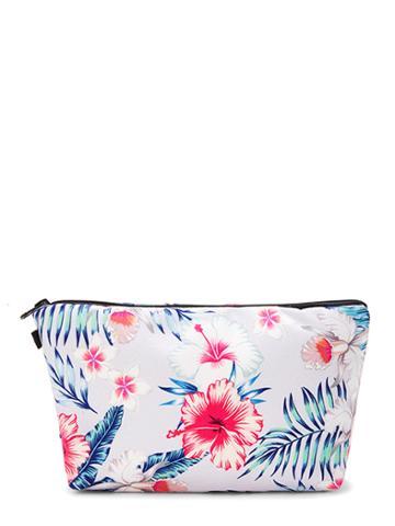 Romwe Flower Print Makeup Bag