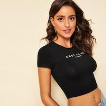 Romwe Letter Print Form Fitting Crop Tee