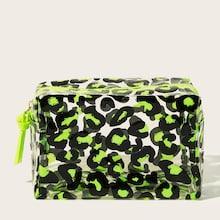 Romwe Leopard Transparent Makeup Bag