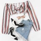 Romwe Knot Front Striped Crop Top