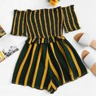 Romwe Off Shoulder Frill Trim Striped Romper