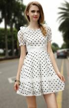 Romwe Doll Collar Polka Dot Bandage Dress