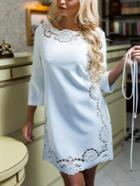 Romwe Round Neck Hollow Out Tshirt Dress
