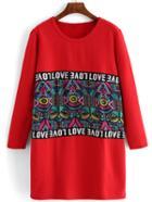 Romwe Long Sleeve Geometric Print Tshirt Dress