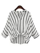 Romwe Vertical Striped Draped Front Blouse - White
