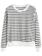 Romwe Black White Striped Drop Shoulder Sweatshirt