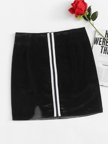 Romwe Striped Tape Cut Out Hem Skirt