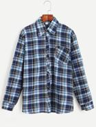 Romwe Plaid Button Front Shirt With Pocket