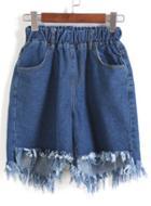 Romwe Elastic Waist Fringe Denim Blue Shorts