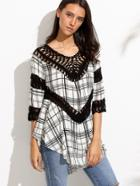 Romwe Contrast V Neck Crochet Hollow Out Asymmetrical Blouse