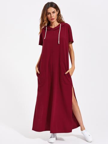 Romwe Drop Shoulder Slit Side Hooded Dress