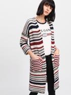 Romwe Drop Shoulder Striped Knit Long Cardigan