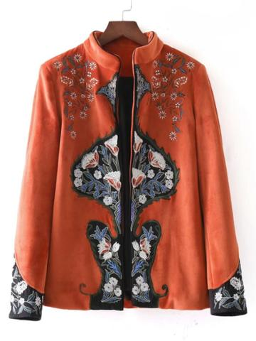 Romwe Embroidered Tailored Chinoiserie Blazer