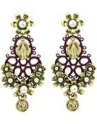 Romwe Gold Pearl Flower Earrings