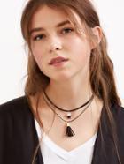 Romwe Black Double Layer Tassel Star Pendant Choker Necklace