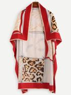 Romwe Red Leopard Print Square Scarf