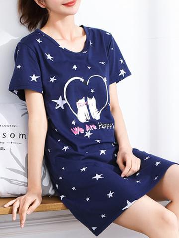Romwe Cat & Star Print Dress
