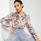 Romwe Pocket Front Allover Print Shirt