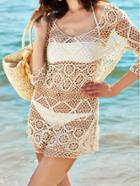 Romwe V Neck Hollow Out Beach Dress