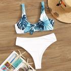 Romwe Random Palm Print Top With High Cut Bikini Set