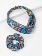 Romwe Flower Print Headband & Hair Tie