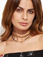 Romwe Brown Double Layer Metal Trim Choker Necklace