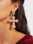Romwe Rhinestone Cross Drop Earrings