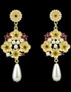 Romwe Gold Pearls Flower Earrings