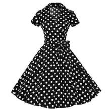 Romwe Polka Dot Belt Wrap Flare Dress