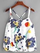 Romwe Floral Print Layered Chiffon Cami Top
