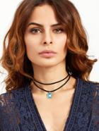 Romwe Black Double Layer Rectangle Pendant Choker Necklace