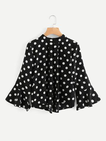 Romwe Fluted Sleeve Pleated Detail Spot Blouse