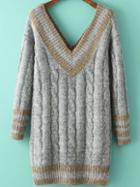 Romwe V Neck Cable Knit Slit Grey Sweater