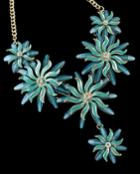 Romwe Blue Glaze Flower Necklace