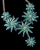Romwe Blue Glaze Flower Necklace