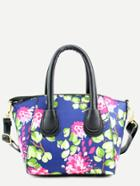 Romwe Blue Floral Print Handbag With Strap