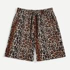 Romwe Guys Pocket Patched Leopard Print Drawstring Shorts