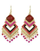 Romwe Colorful Beads Big Chandelier Earrings