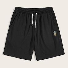 Romwe Guys Drawstring Waist Pineapple Shorts