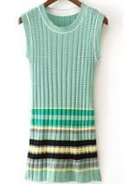 Romwe Sleeveless Striped Knit Green Dress